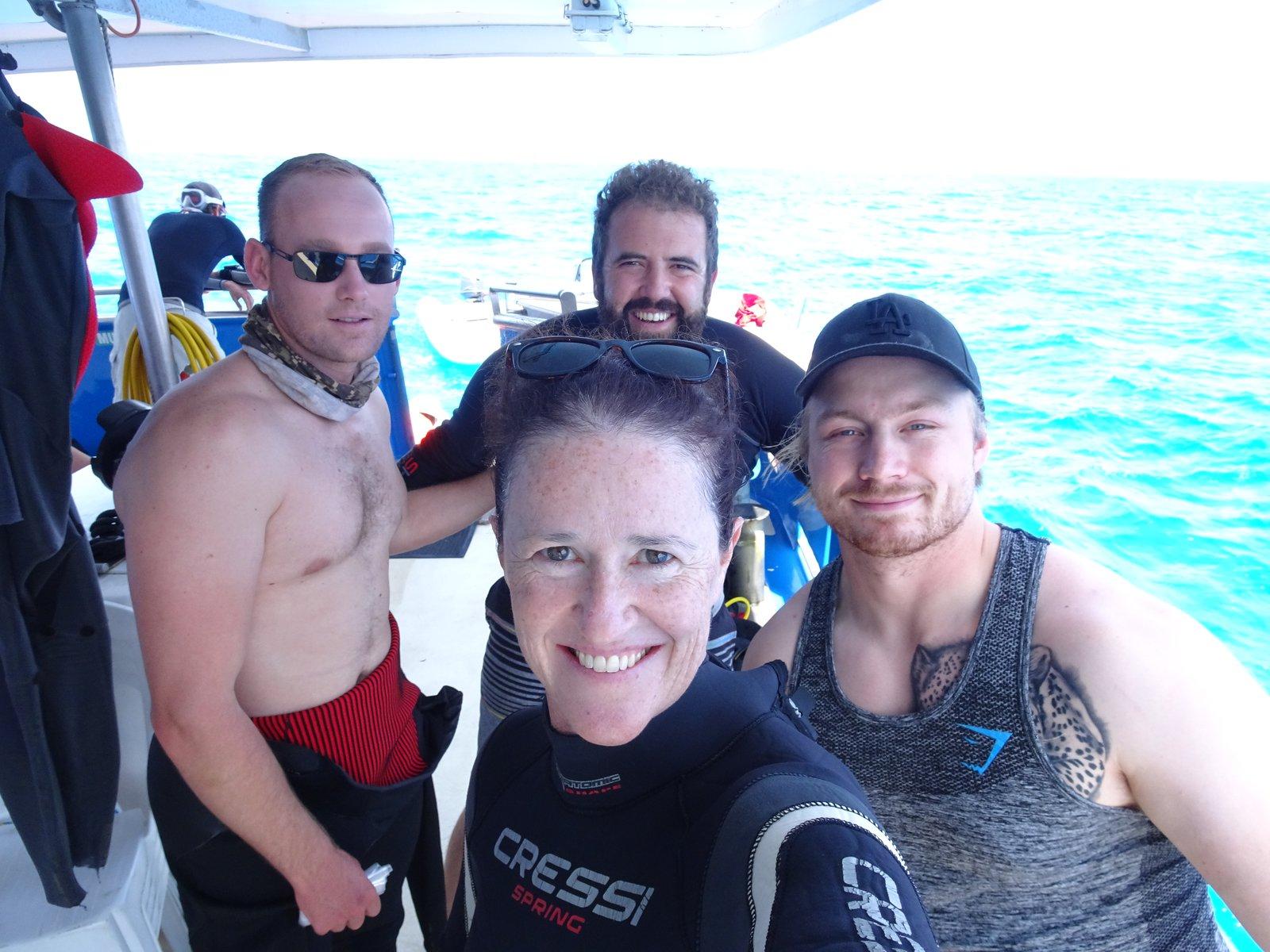 Amanda Hay and the team on the Iron Joy