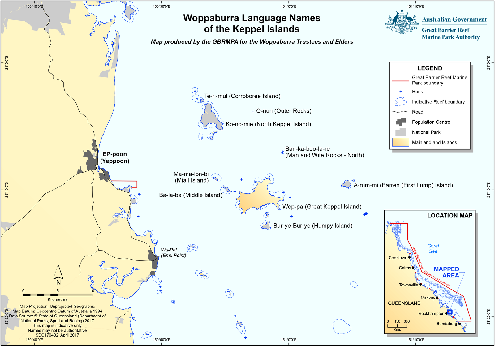Woppaburra Language Names of the Keppel Islands