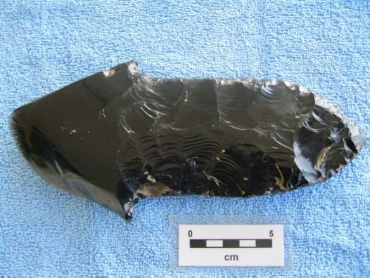 Complete obsidian stemmed tool found by workmen at Barema plantation, near Hargy, New Britain, PNG.