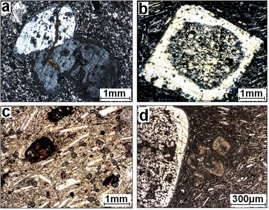 Photo micrographs of sectioned volcanic rocks