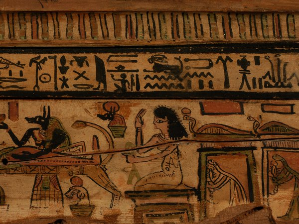 Close-up of Egyptian hieroglyphs