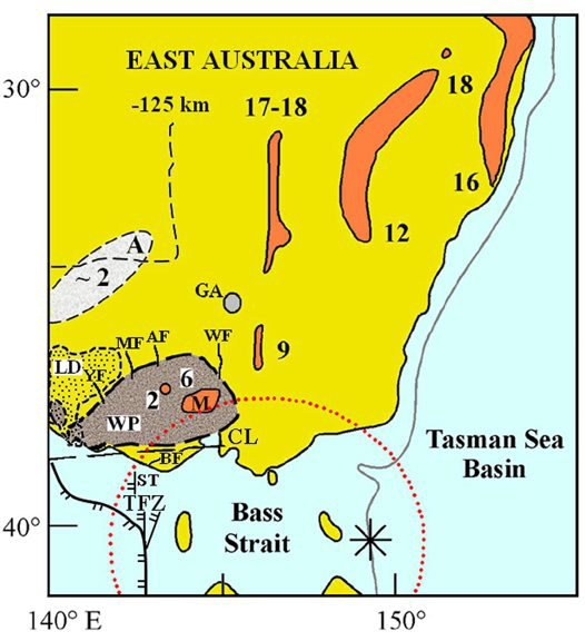 Volcanic distribution map, southeast Australia, showing a synthesis of different lava types and ages.
