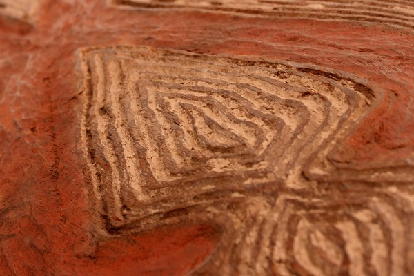 Close-up of aboriginal shield carving