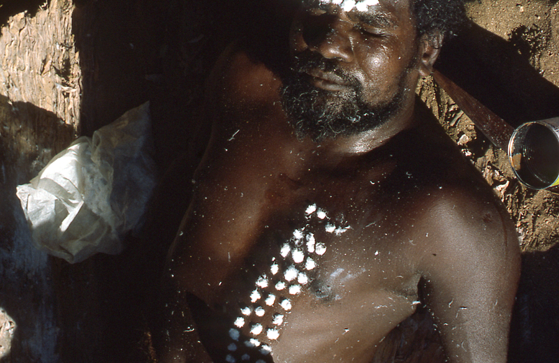 Jackson Jacob (Thunalgunaldin) is painted in readiness for a Corroboree