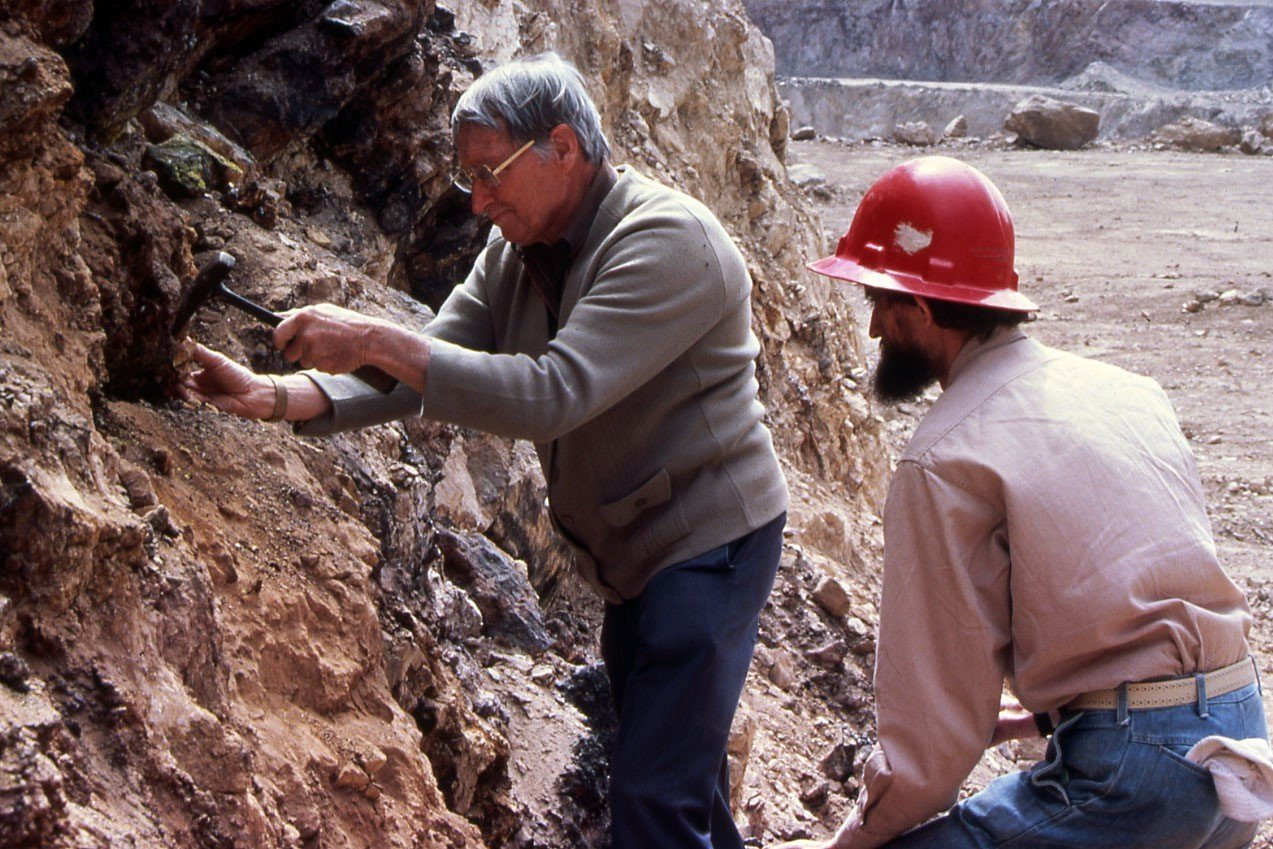 Albert Chapman (left) and Ross Pogson inspect an open cut mine in Broken Hill in the 1980s
