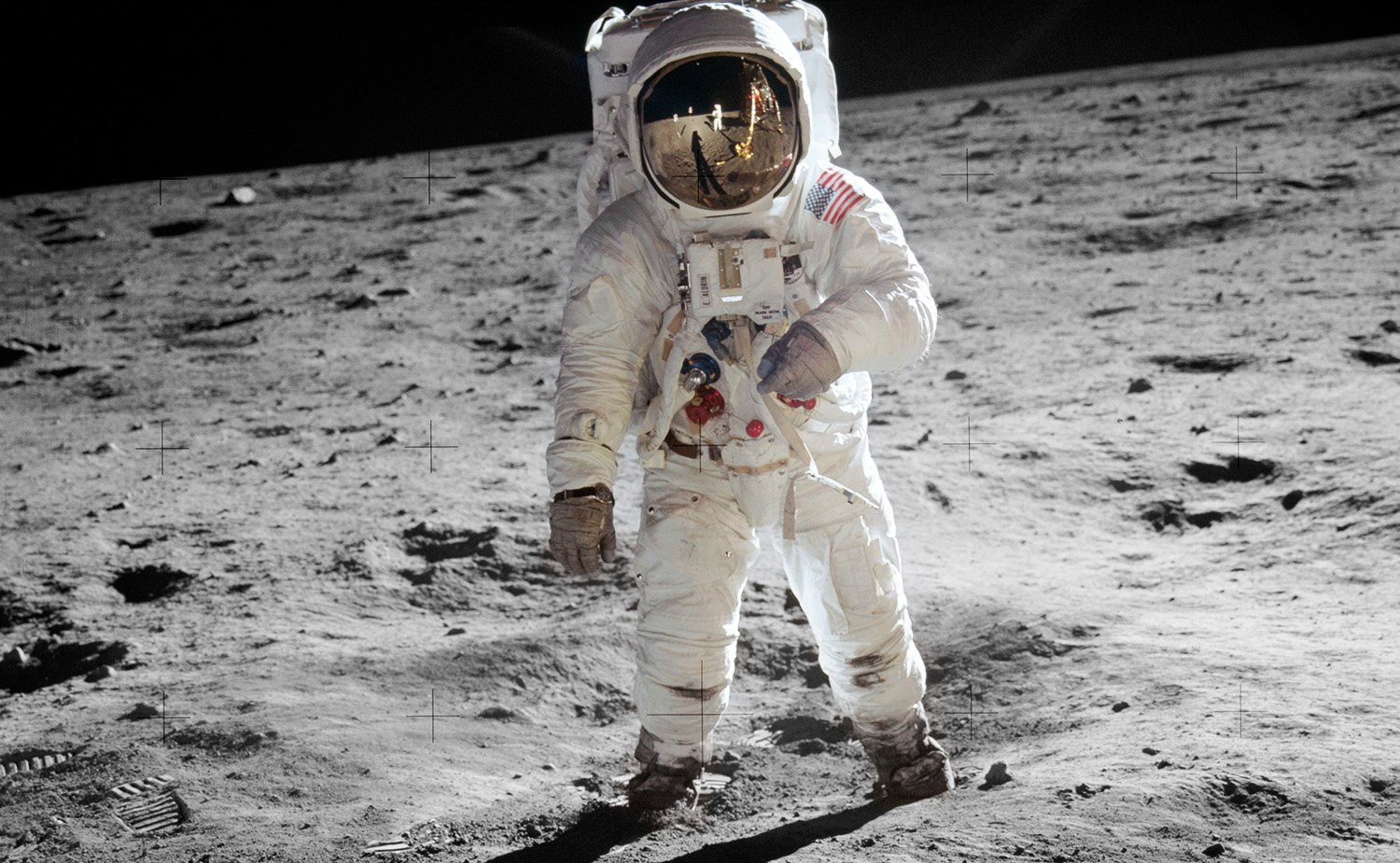 Astronaut Buzz Aldrin on the surface of the moon during the Apollo 11 moonwalk, 21 July 1969
