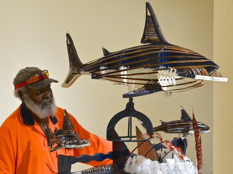 Artist Ken Thaiday and his Triple Beizam Hammerhead Shark Headdress