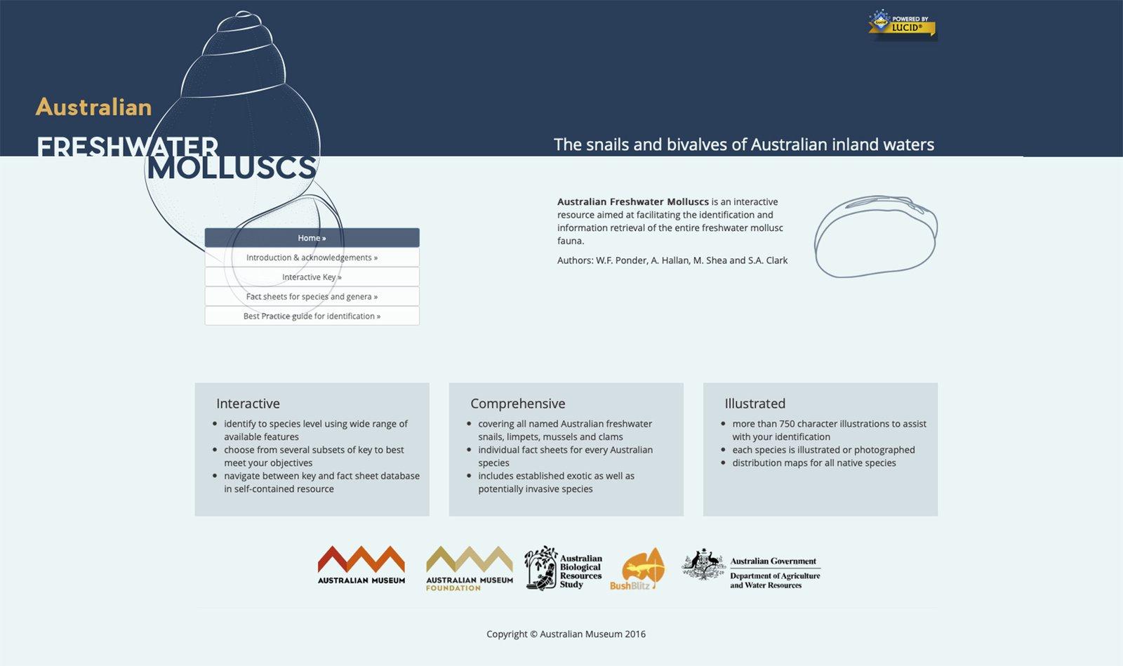 Screenshot - Australian Freshwater Molluscs Website