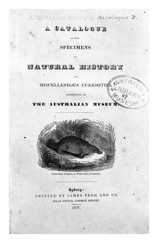 Australian Museum First Catalogue 1837