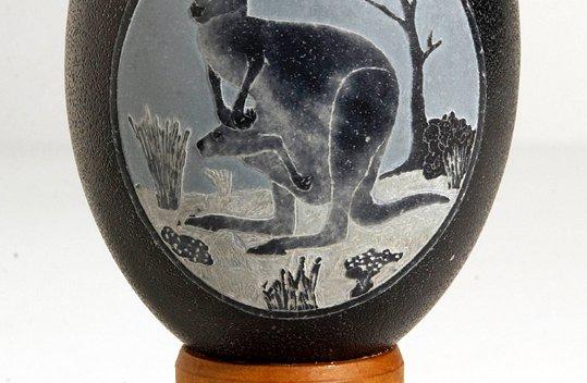 Carved Emu Egg - E092449 Peter Harris