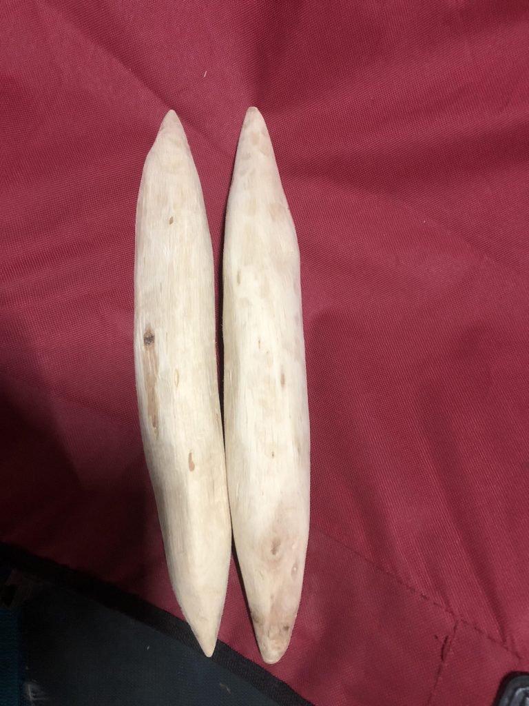 Clap sticks carved from coastal she oak