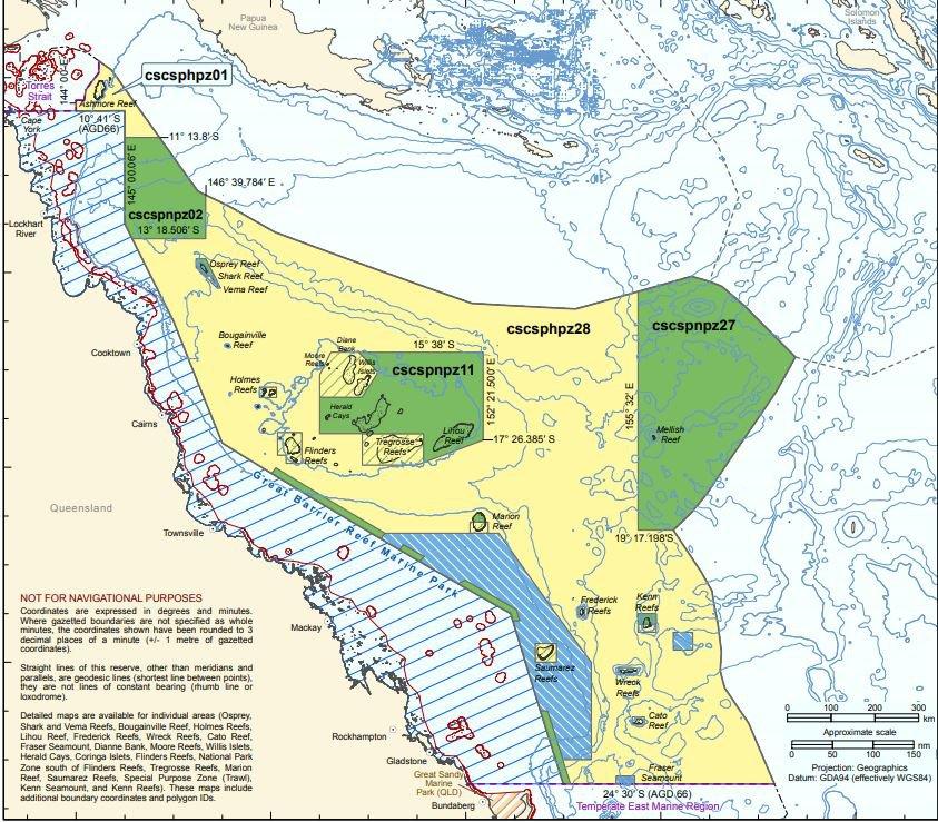 Coral Sea Marine Park map