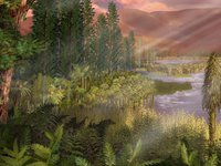 Illustration of Triassic period landscape
