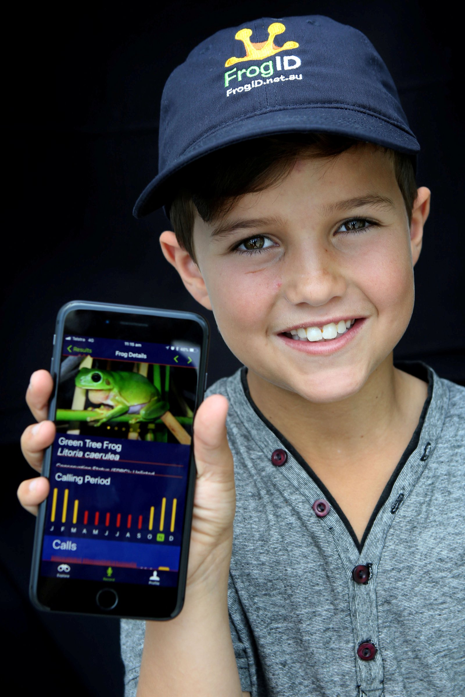 Boy using a mobile app