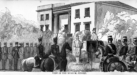 The arrival of the Governor-General Sir Charles Fitzroy to open the first exhibition at the Australian Museum in November 1854.