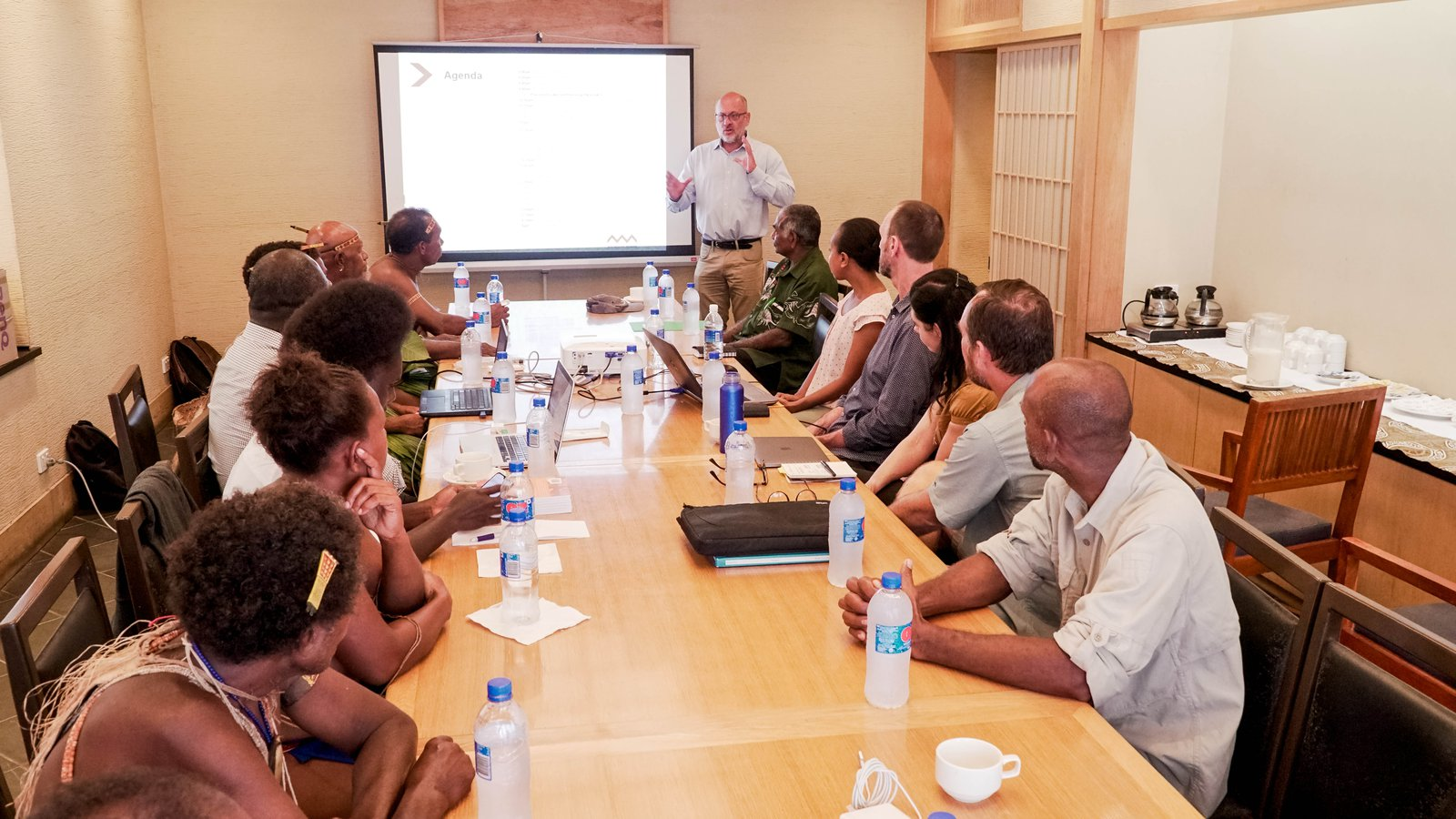 Tim Flannery presents to the attendees at the Honiara workshop, September 2019.