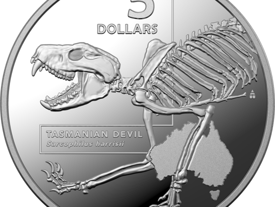 One of the coins from The Royal Australian Mint's commemorative coin series, depicting the Tasmanian Devil.
