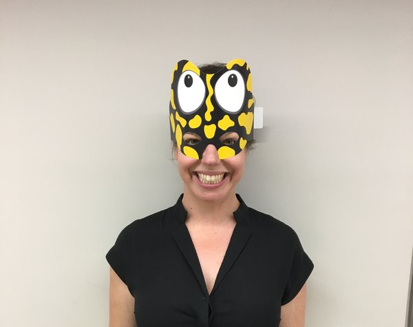 Dr Jodi Rowley as a Corroboree frog