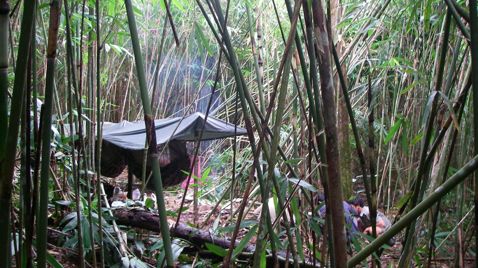 Camp in the forest, Cambodia.