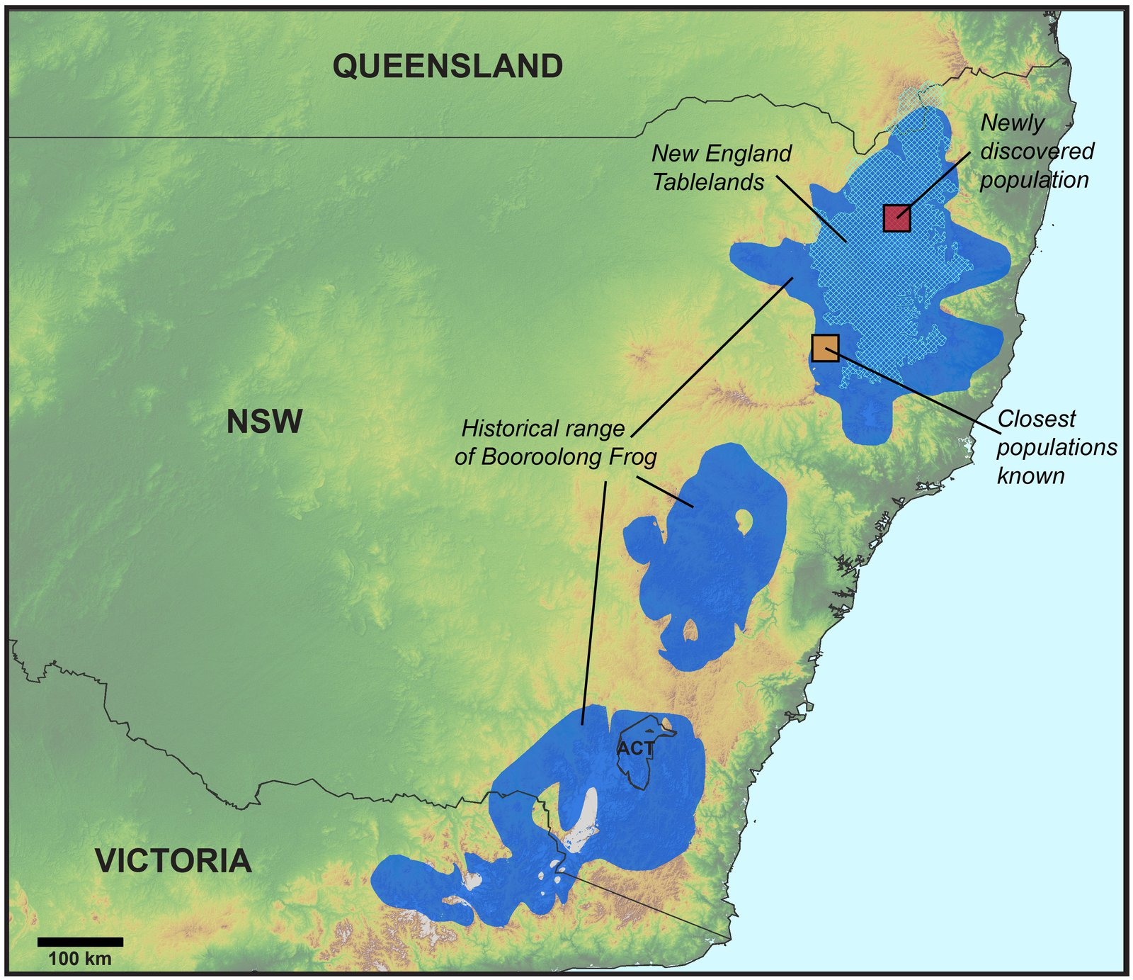 Map showing the newly discovered population of Booroolong Frogs (Litoria booroolongensis)