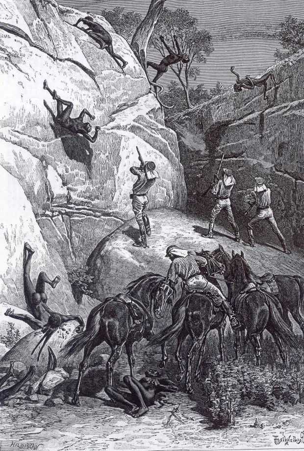 1888 drawing of a massacre by Queensland's native police at Skull Hole, Mistake Creek, near Winton.
