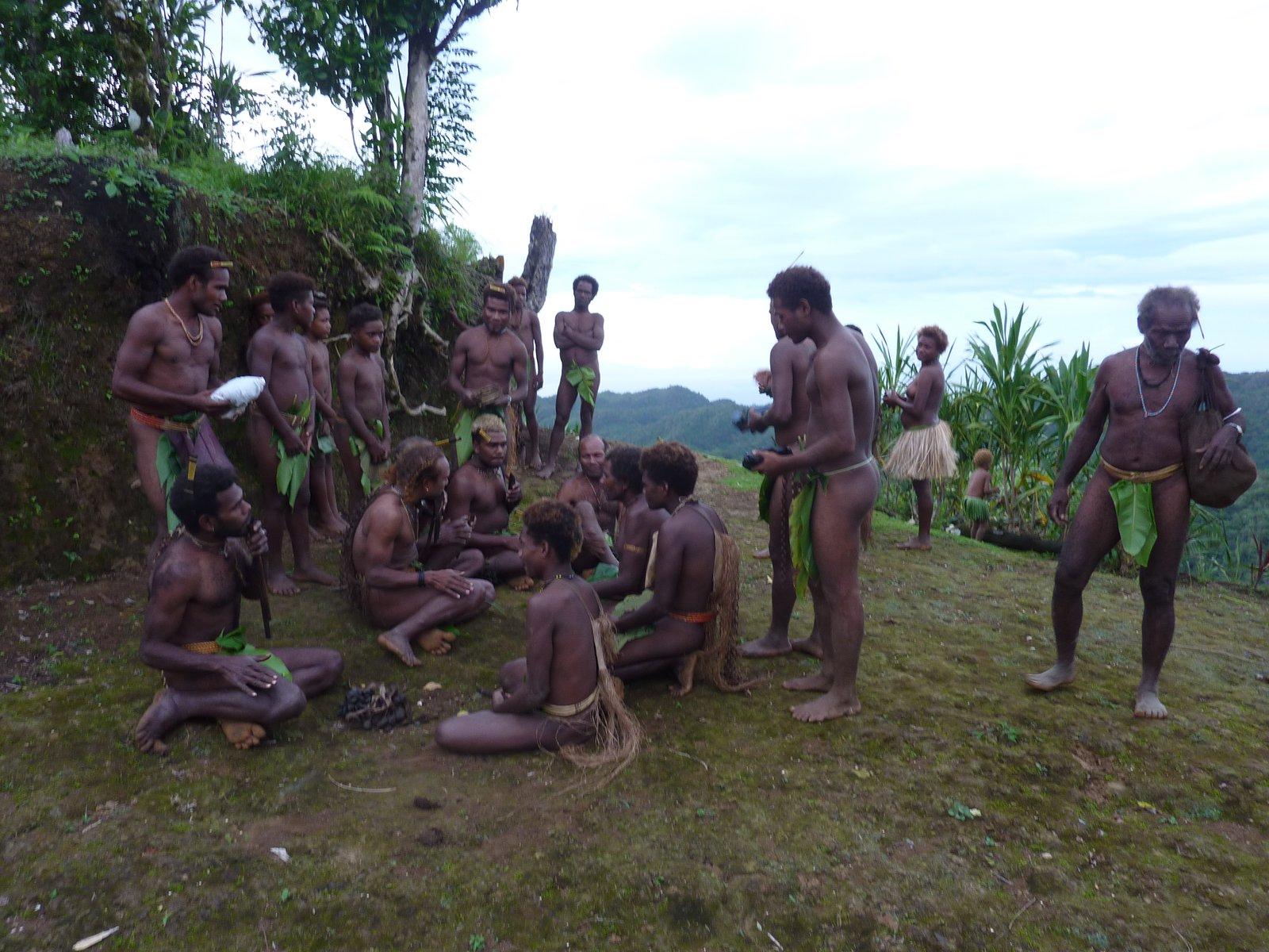 Members of the Kwaio community in traditional attire, Malaita.