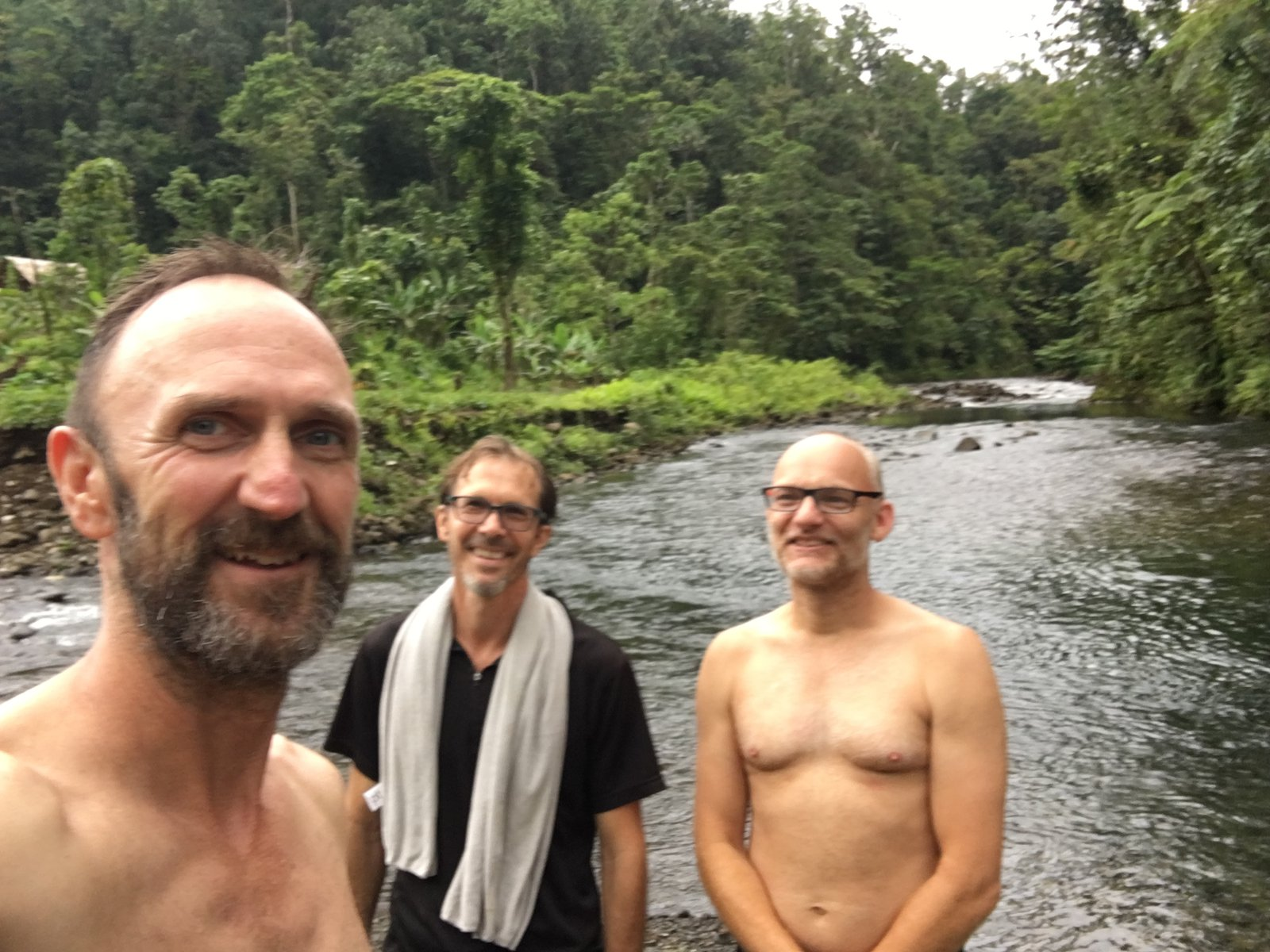 Paul Flemmons, Andrew Mitchell and Frank Köhler down by the river, Malaita.