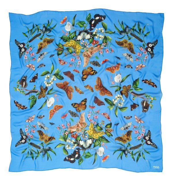 Scott Sisters' silk scarf in blue