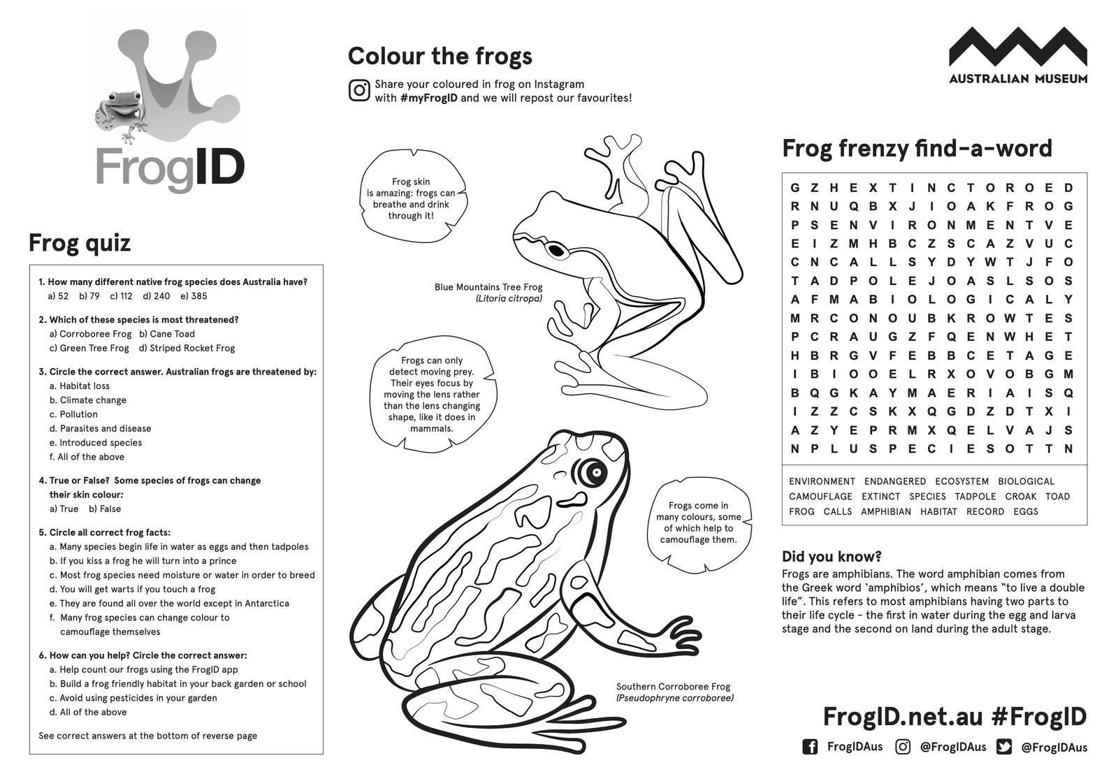 FrogID activity sheet