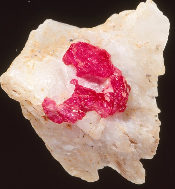 Corundum (ruby) in calcite