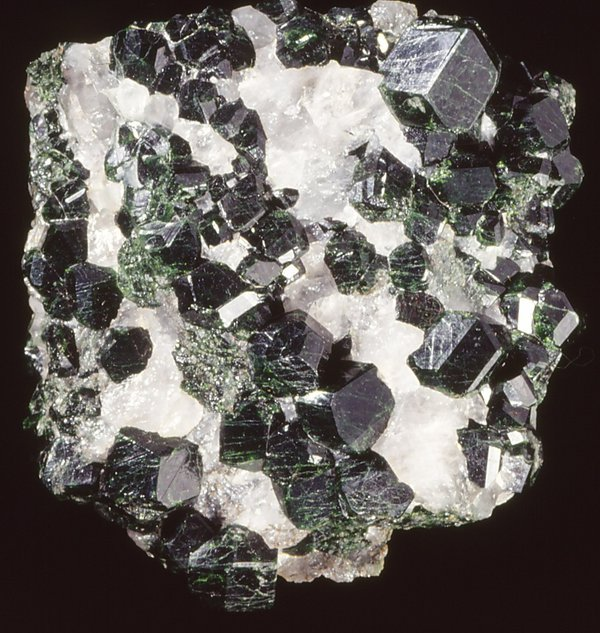 Uvarovite garnet in quartz