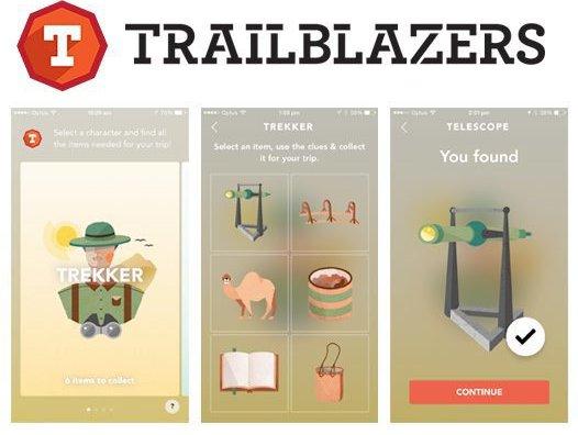 Trailblazers Kids App screengrabs.