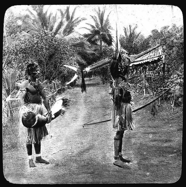 Two Men in costumes, Mer (Murray Island), Torres Strait 1907