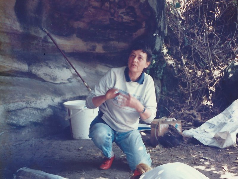 Val directing her excavation at Balmoral Beach