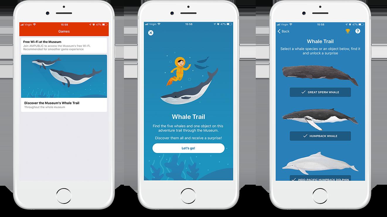 Whale Trail game screens trio