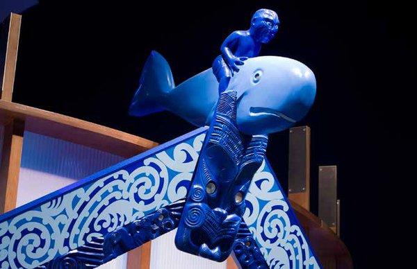 Māori wharenui at entry to Whales | Tohorā