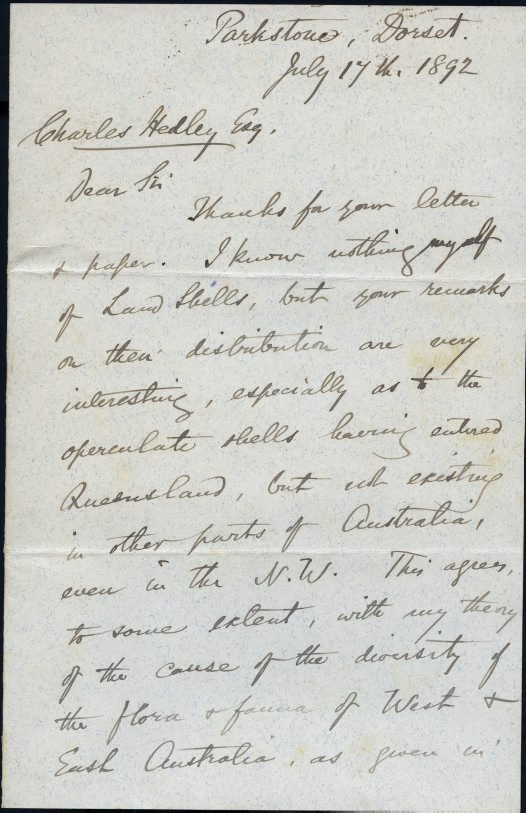 Alfred Russel Wallace to Charles Hedley July 1892 p1