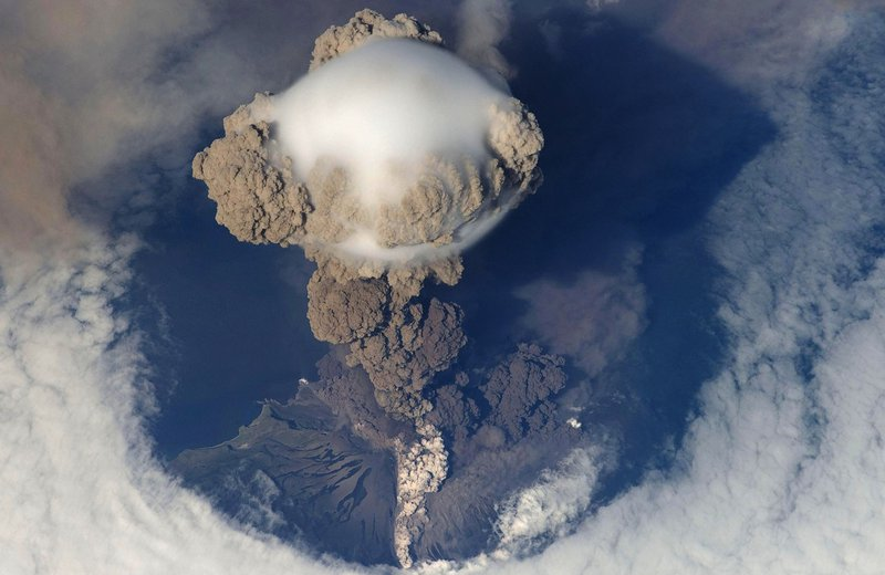 Aerial view of volcanic eruption