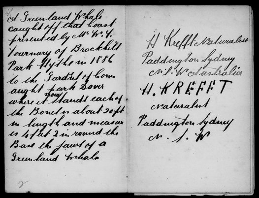 Page from Gerard Krefft's 1869 Diary held in the Mitchell Library. Hermann Krefft practises his signature.