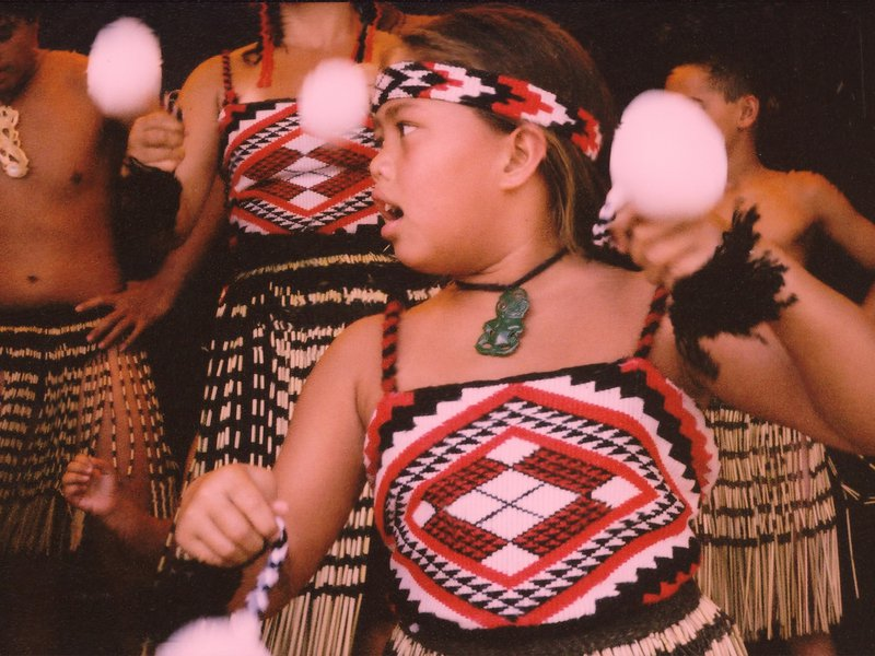 Young Maori girl dancing