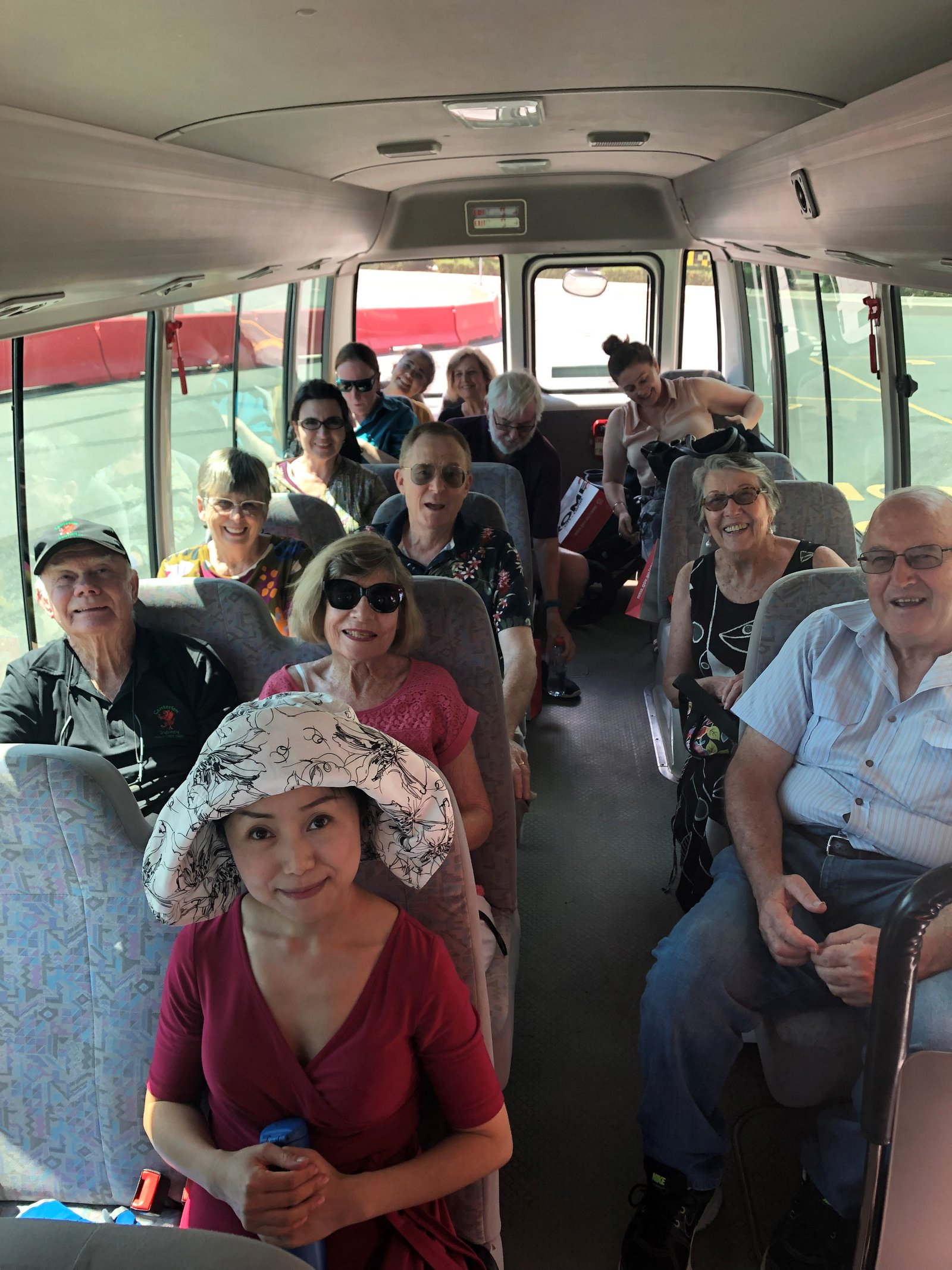 Members on the bus to Canberra