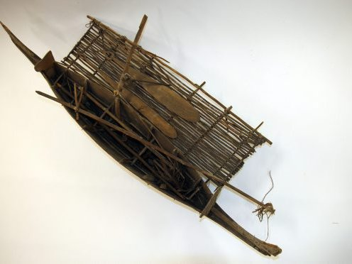 Canoe model (c. 1m long) from Kwaiawata Island, Papua New Guinea. Collected by Charles Seligman in 1904.