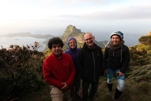 Our snail surveyors team at the summit of Mt Gower, Lord Howe Island