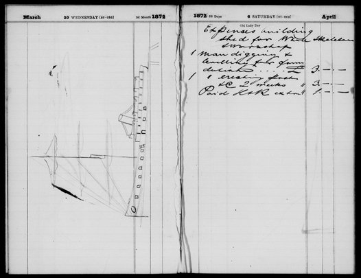 Page from Gerard Krefft's 1872 Diary held by the Mitchell Library. Hermann Krefft's drawing of a ship side by side with his father's notes about building a shed for a new whale skeleton recovered in 1872.