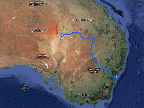 The blue line represents the 2000km journey by car from Sydney to Birdsville. The red triangle is the area that the scientists will spend 25 days exploring by camel.