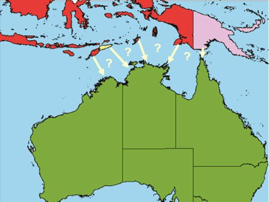 Proposed entry routes into Australia for exotic Culicoides biting midges.