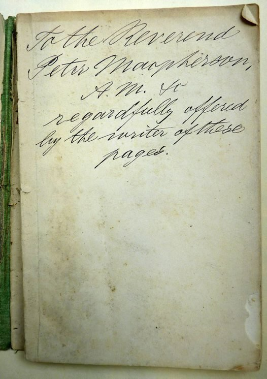 The inscription by Ferdinand Mueller to Peter Macpherson inside Papuan plants (1875)