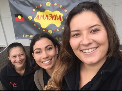 AM Indigenous Education Project Officer Renee Cawthorne with cadets Jhade and Katelyn