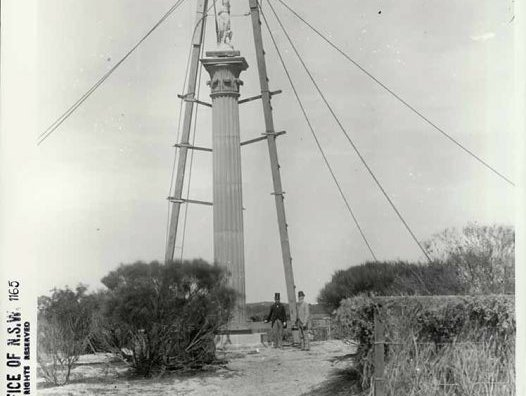 Raising one of the Australian Museum columns in Centennial Park