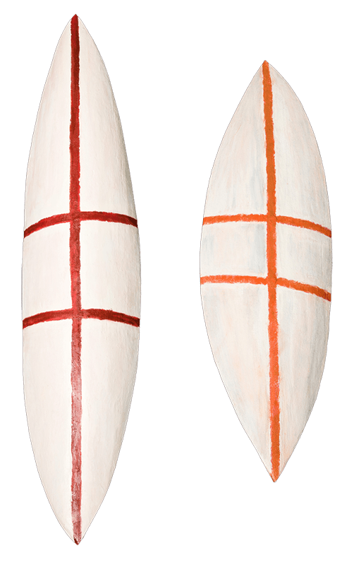 Photo of two painted shields